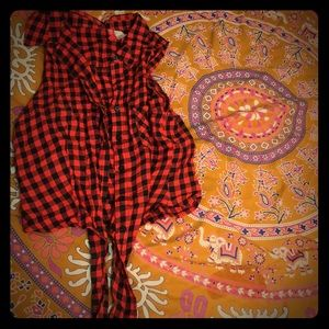 Pinup Button down bow tie checkered crop top